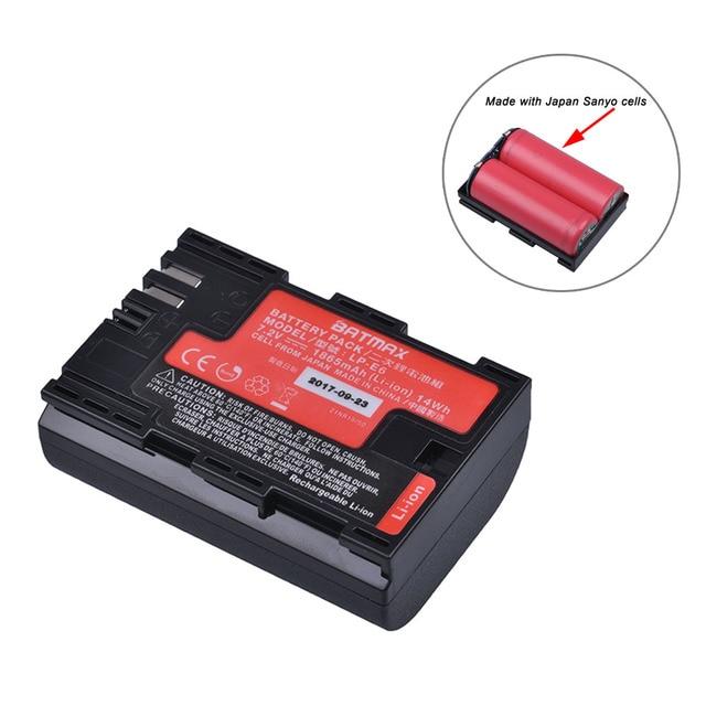 1 قطعة عالية القدرة الحقيقية LP E6 بطارية LP E6N اليابان سانيو خلية لكانون EOS 6D 7D 5DS 5DSR 5D مارك II IV 60D 60Da 70D