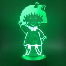 Cute Manga Chibi Maruko Chan Figure Led Night Light Touch Sensor Switch Nightlight for Kids Baby Bedroom Table Lamp Bedside