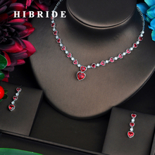 HIBRIDE Fashion Red Love Heart Shape CZ Jewelry Sets For Women Luxury Necklace Set Wedding Dress Accessories Party Show N-452