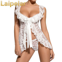 Laipelar Women Sexy Lace Cardigan Dress Sleepwear Nightgown G String Bodydoll Underwear Nightgowns Dresses