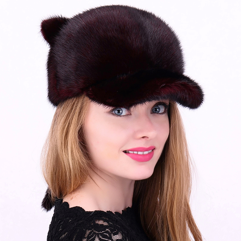 24f199be809 Real Mink Fur Hats For Women Casual Striped Cat Ear Winter Natural Fur  Beanie Whole Female Fashion Warm Real Fur Mink Hat mz014