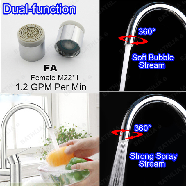 2 flow Water saving Aerator Nozzle Spray and bubble Stream Bathroom ...