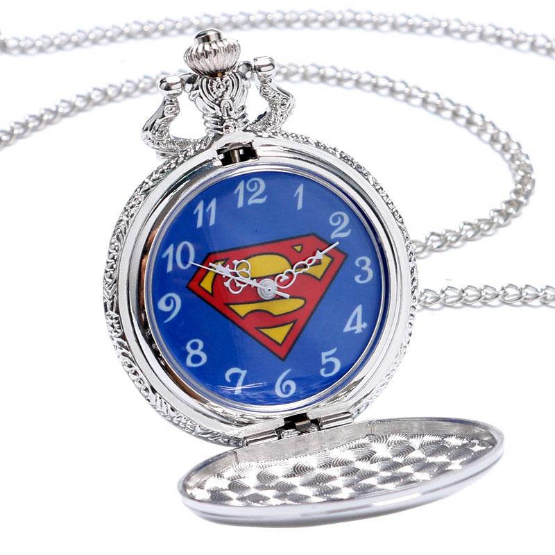 2016 Yeni Varış Klasik Comic Superman Kuvars Pocket Watch Erkekler - Cep Saatleri - Fotoğraf 5