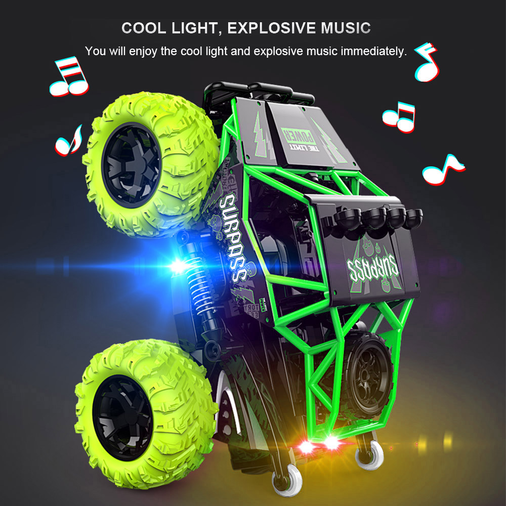 Goolsky RC Car Z103 2.4GHz 2WD 360 Spin Surpass Stunt RC Cars Off road Crawler Dynamic Music LED Light RTR Toys for Children
