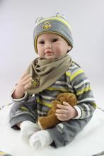 55CM Reborn Doll Soft Silicone Doll Handmade Vinyl Lifelike Realistic Silicone reborn baby boy dolls For