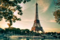 Home Decoration Eiffel Tower Blurred Paris France Filters Boats Trees Branches Architecture Silk Fabric Poster Print