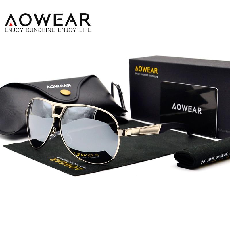 Dizajneri i markës AOWEAR Syzet e diellit të tepërta për burra Natën e verdhë Lente polarizuara syze dielli Mashkull Syzet Retro Driving Gafas De Sol