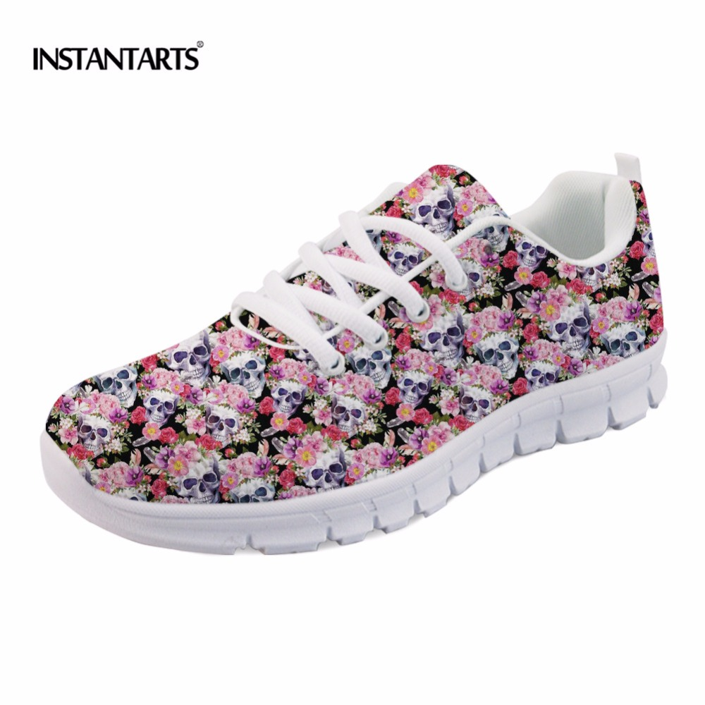 INSTANTARTS Women Spring Flat Shoes Fashion Radiologist's Skulls Sneakers Casual Female Flats Lace-up Punk Shoes Woman Zapatos instantarts casual women s flats shoes emoji face puzzle pattern ladies lace up sneakers female lightweight mess fashion flats