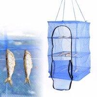 3 Layer Universal Fish Net Drying Rack Folding Hanging Prawn Crab Dryer Hanger Convenient Bag Zipper Clean Fishing Tool Hot Sale
