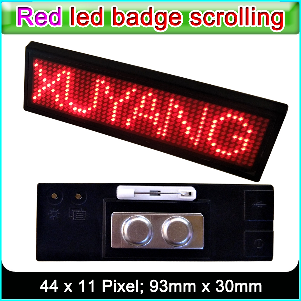 B1248R Red LED Badge Scrolling Advertising LED Name Sign, Indoor Red LED Display Panel