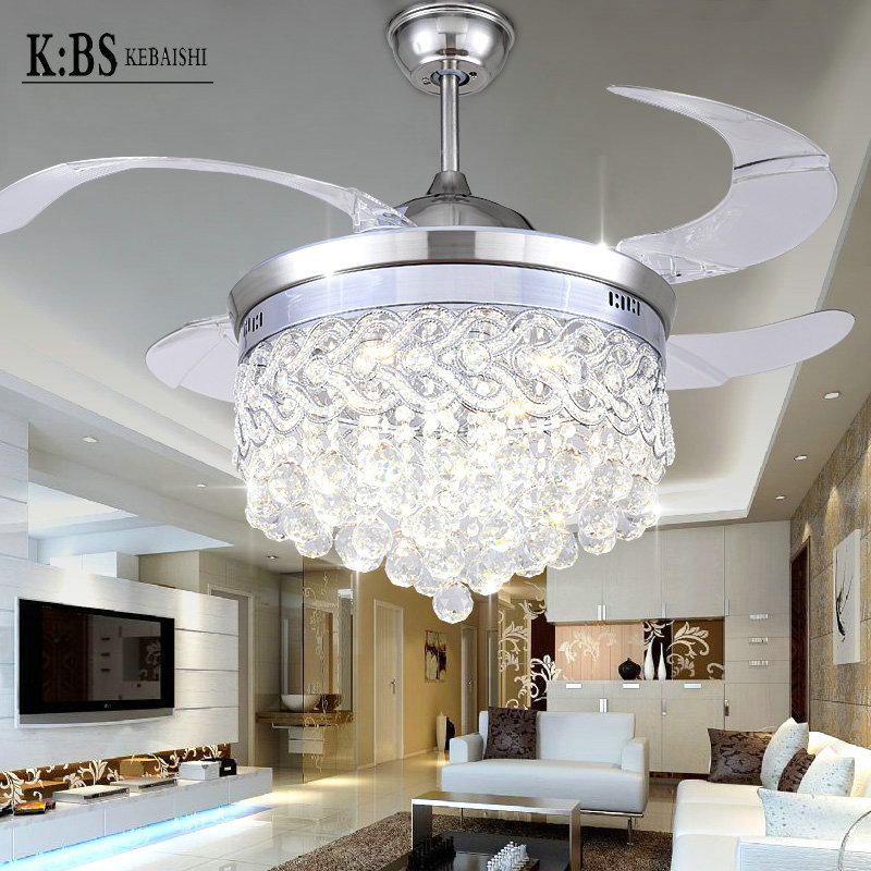 Invisible Crystal Light <font><b>Ceiling</b></font> <font><b>Fans</b></font> Modern LED crystal Parlor <font><b>Ceiling</b></font> <font><b>Fans</b></font> Crystal Light Remote Control 42-inch Free Shipping