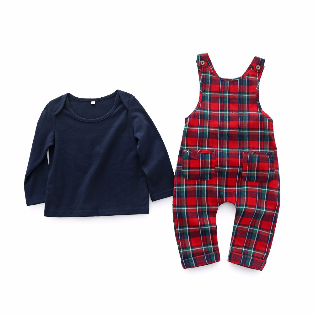 Kimocat baby new Spring and autumn boy clothes Blue Classic Plaid Jumper infant 2pcs baby boy sets