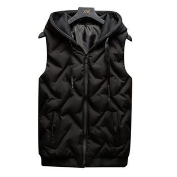 цена на b Fashion Sleeveless Jacket 2019 Men Thickening down Cotton Vest Hat Hooded Warm Vest Winter Waistcoat Men Casual Vest