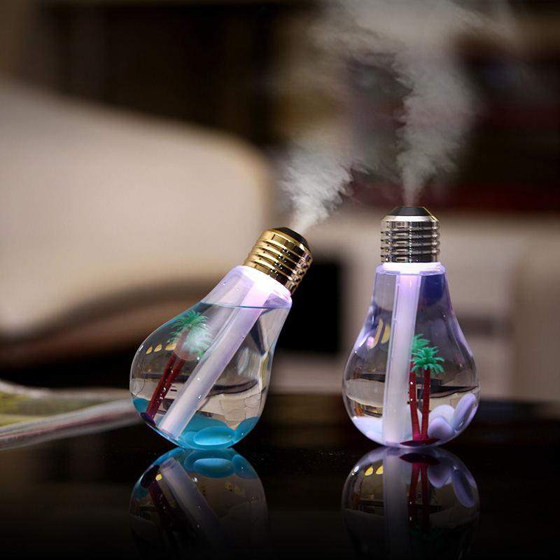 USB Creative Bottle Bulb Shape Ultrasonic Humidifier Home Office Mini Aroma Diffuser Aromatherapy Mist Maker LED Night LighUSB Creative Bottle Bulb Shape Ultrasonic Humidifier Home Office Mini Aroma Diffuser Aromatherapy Mist Maker LED Night Ligh