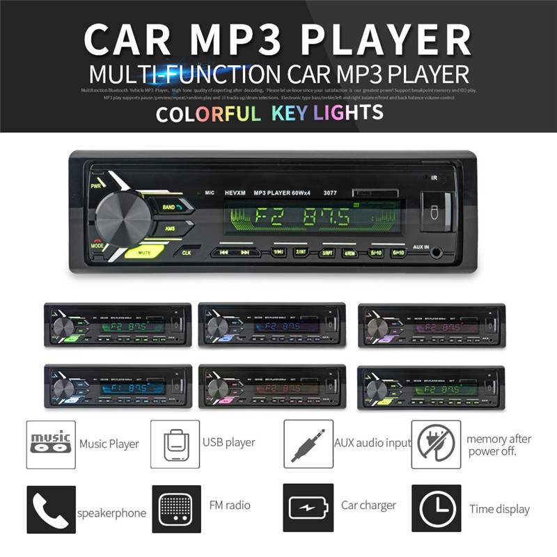 12V Car Radio Bluetooth V.30 Panel Auto Stereo Audio Player AUX IN FM MP3 USB Support U Disk Car Audio Hands free Call