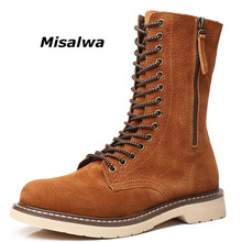 Misalwa Spring Popular Casual Man Leather Ankle Boots Handmade High Top Winter For Men Height Increasing Motorcycle Botas