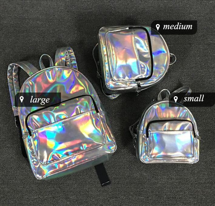 2017 Hot Fashion Rucksack Women Silver Hologram Laser Backpack School Bags For Teenage Girls Holographic Backpack