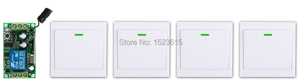 New DC12V 1CH Wireless Remote Control Switch System Receiver +4* Wall Panel Remote Transmitter Sticky Remote Smart Home Switch ac 220 v 1ch wireless remote control switch system receiver wall panel remote transmitter sticky remote smart home switch