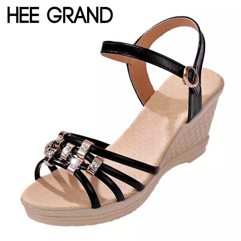 Gladiator Sandals Platform-Shoes Rhinestones Casual Wedges Summer Woman Hee Grand Slip-On