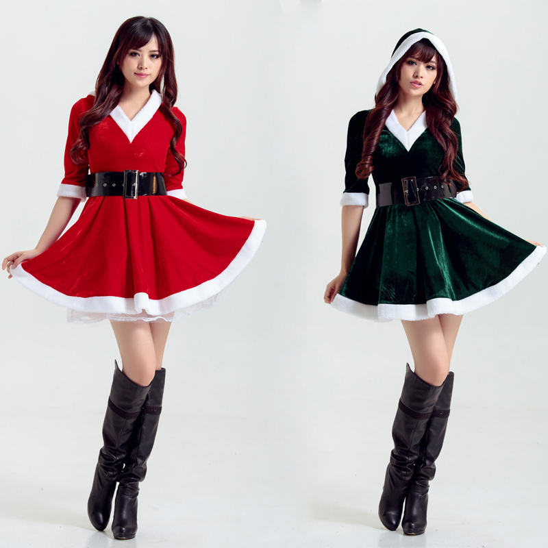 Christmas Party Women Santa Claus Costume Red Green Velvet XMAS Dress Christmas Tree Cosplay Fancy Dress