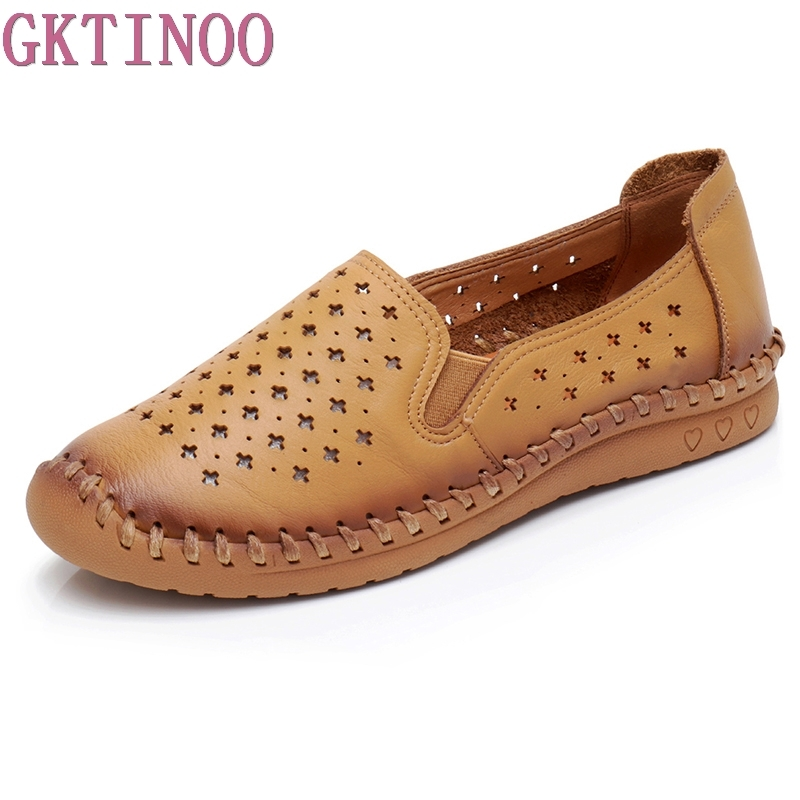 GKTINOO Women's Casual Genuine Leather Shoes Woman Loafers Slip-On Female Flats Moccasins Ladies Driving Shoe Cut-Outs 2017 autumn fashion real leather women flats moccasins comfortable summer ladies shoes cut outs loafers woman casual shoes st181