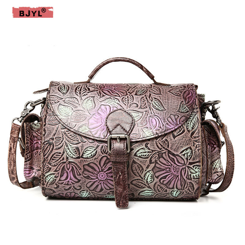BJYL Fashion first layer embossed leather ladies fashion Women handbag female Retro shoulder Messenger bags пастернак б избранное