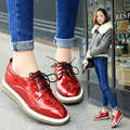 Patent Leather Brouge Shoes Lace Up 2017 Punk Thick Bottoms Women Oxfords Flats Square Toe Carved Bullock Female Elevator Shoes