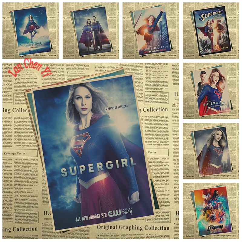 TV play Supergirl Matte Kraft Paper Poster Office Gift Room Dining Home Decor wall sticker Design