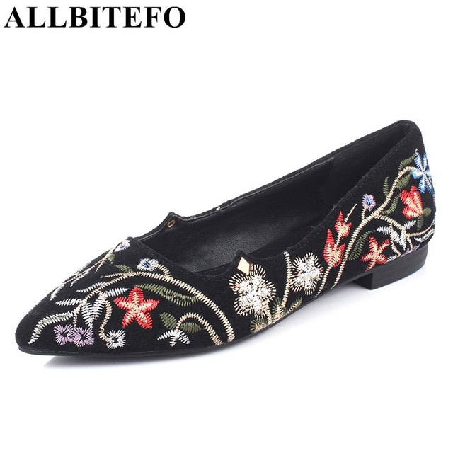 ALLBITEFO Chinese Pointed Toe Embroidery Flat Shoes