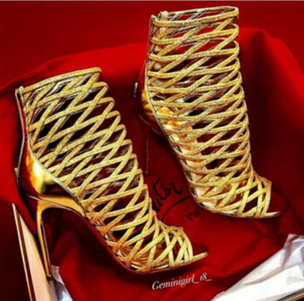 a877acd4381 High quality genuine leather women booties red bottoms sandals gold black white