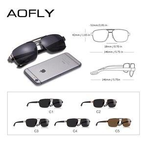 Image 4 - AOFLY 디자인 남자 편광 된 선글라스 금속 남자의 태양 안경 운전 광장 음영 Oculos masculino 남성 안경 고글 AF8194