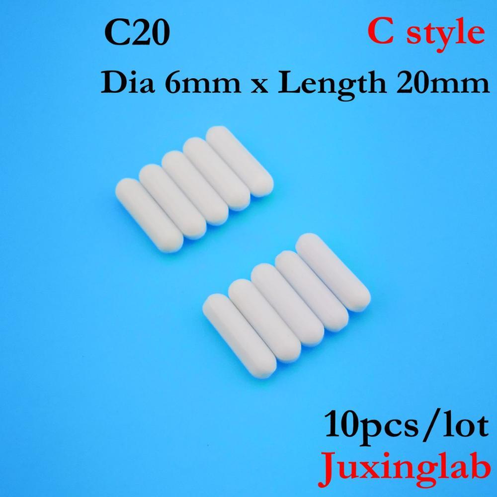 Laboratory PTFE Magnetic Stirrer Mixer Stir Bar C Style C20  Dia6mm X Length 20mm  10pcs/ Pack