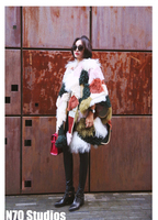 Arlene Sain Custom Women Luxury Imported Fur Coat Woman Wearing Fur Cloak Cape Fur On Both