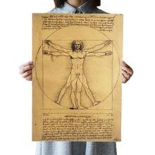 DLKKLB manuscrito Leonardo da Vinci Vitruvio hombre pósteres nostálgicos Vintage núcleo de papel Kraft pegatina de pared decorativa pintura