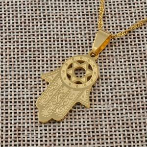 Image 5 - Anniyo heksagram/Hamsa ręczny wisiorek naszyjnik, Magen David naszyjnik złoty kolor biżuteria Islam Arab, żydowska gwiazda, dłoń w kształcie #006721