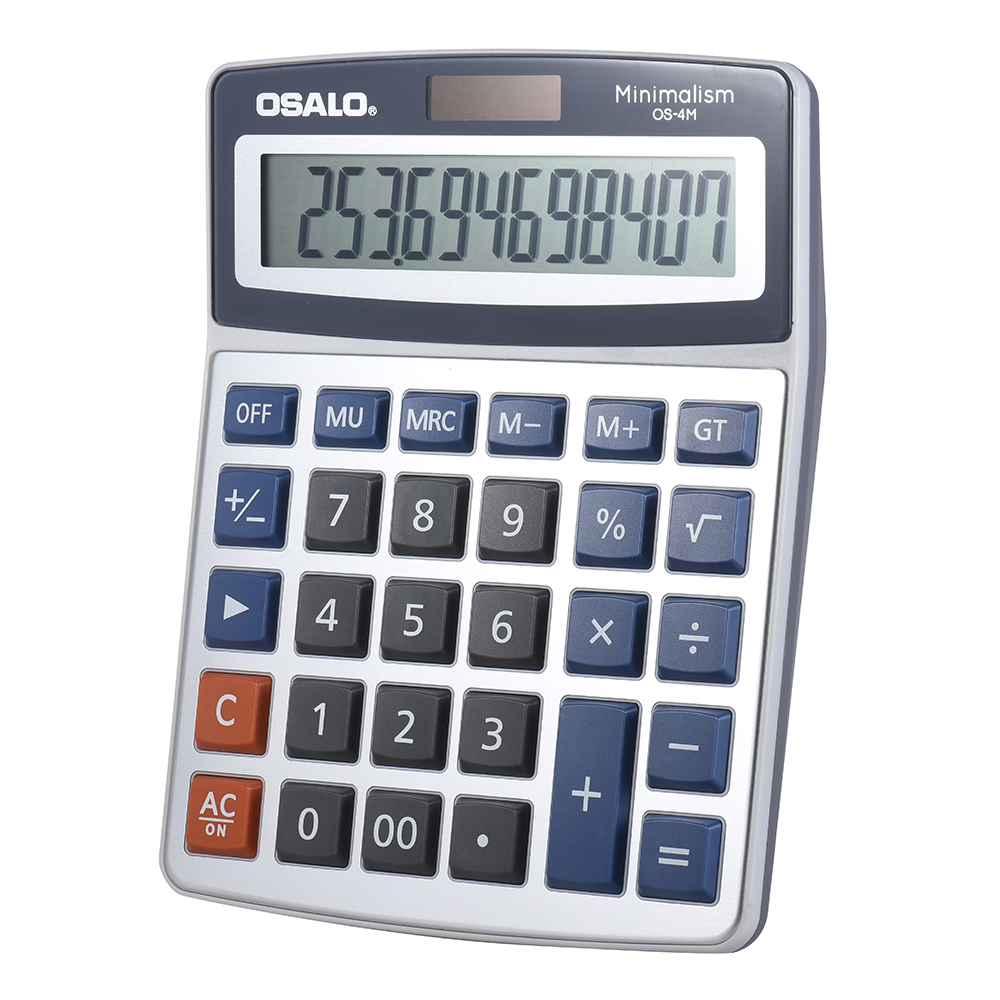Standard Function Desktop Electronic Calculator 12 Digits Large Display Solar Battery Dual Power Supply for School Home Office