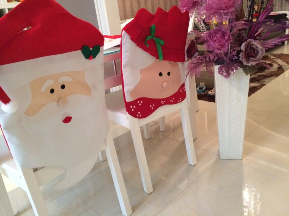 Hot Sale 1 PCS Lovely Christmas Chair Covers Mr & Mrs Santa Claus Christmas Decoration Dining Room Chair Cover Home Party Decor