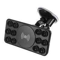 2 In 1 Wireless Car Charger 360 Rotete Phone Holder Universal Windshield Dashboard Sucker Desktop Emitter