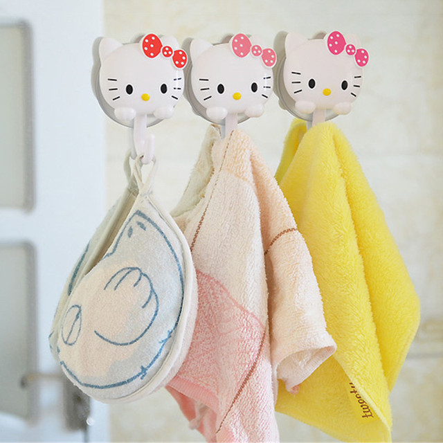 1642dfd4f81f 2PCS Cartoon Hello Kitty Wall Suction Kitchen Plastic Hooks Suckers Hanger  Cup Suction Bathroom Kitchen Tools