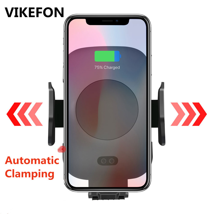 10W Qi Car Wireless Charger For iPhone Xs X Samsung S10 S9 Xiaomi Mi Automatic Clamping Fast Wireless Charging Car Phone Holder(China)