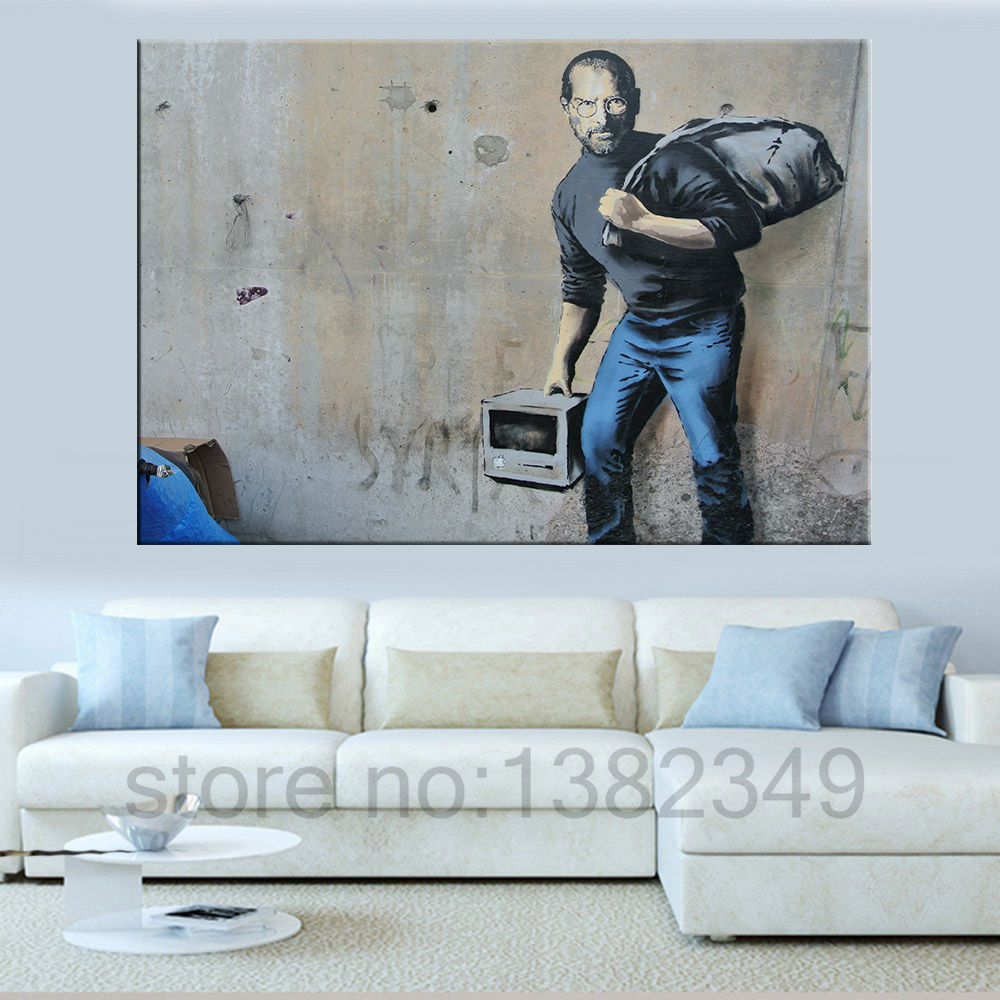 Banksy Steve Jobs Wall Art Canvas Painting Pictures For Living Room Posters And Prints Pop