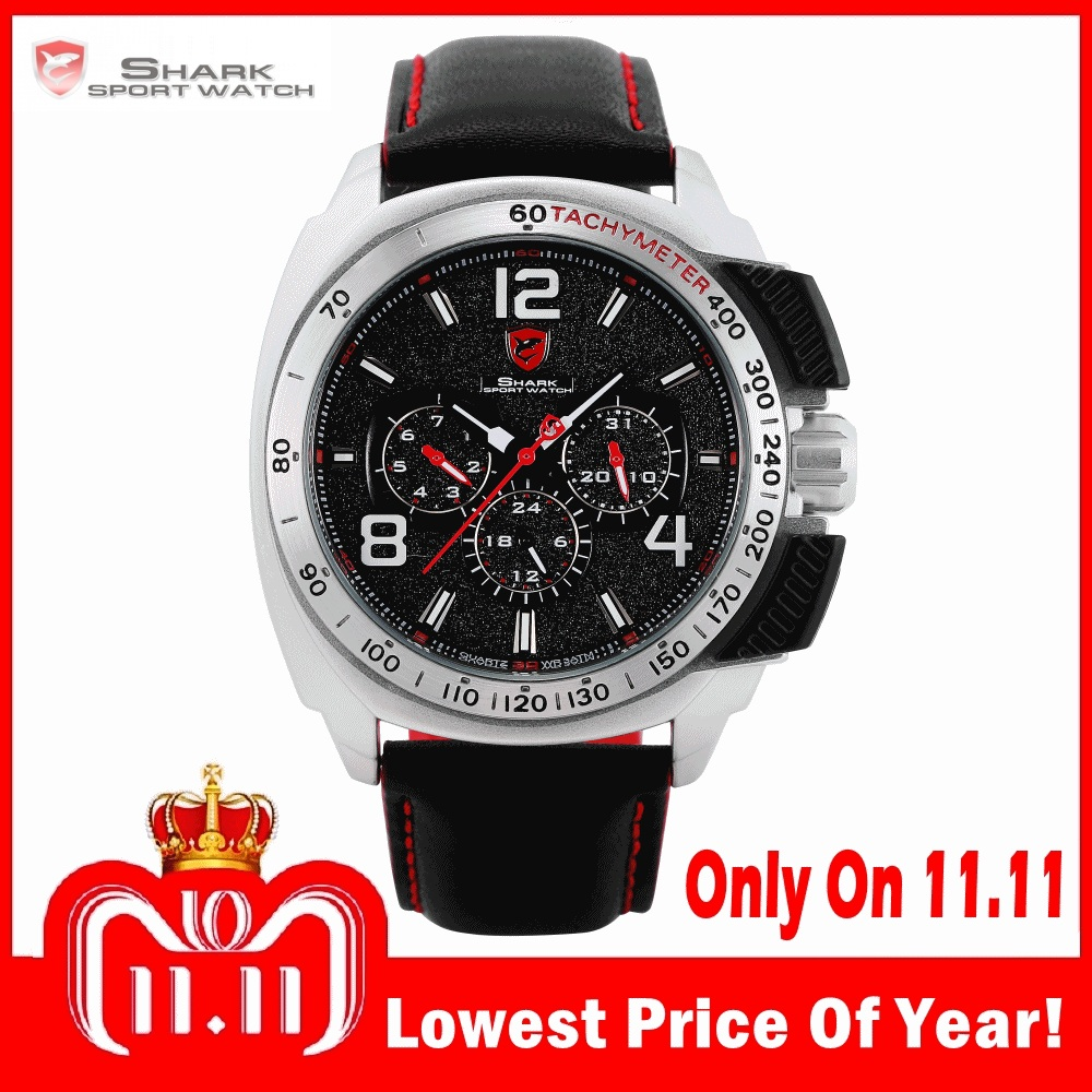 цена на Tiger SHARK Sport Watch Brand Silver Case Date Function Leather Band Men Watches Casual Quartz Movement Luxury Wristwatch /SH418