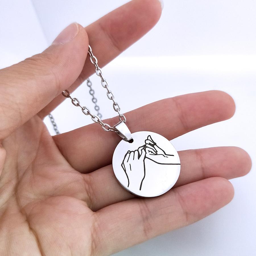 Moda gravado para sempre pinky promessa pingente colar para casais mulheres homens namorado namorada aniversário presente jóias