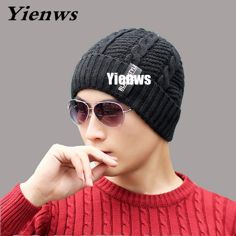 Yienws Brand Skullies Beanies Men Hat Knitted Wool Hats For Winter Hip Hop Gorros For Male Casual Caps Hot Sale Black YIC576 sn su sk snowboard gorros winter ski hats skating caps skullies and beanies for men women hip hop caps knitting bonnet chapeu