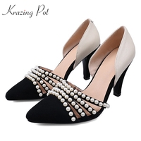 Krazing pot genuine leather party wedding mixed color high heels pearl decoration shallow pumps pointed toe women brand shoe L04