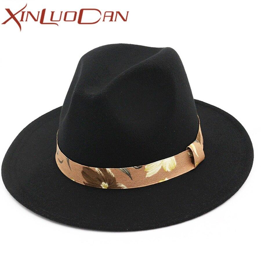 Mujeres lana Fedora Negro hombres de ala ancha otoño Sombreros y gorras moda  femenina Top Hat Jazz Cap invierno Fieltro sombreros para las mujeres WH337 5064e2a9fde