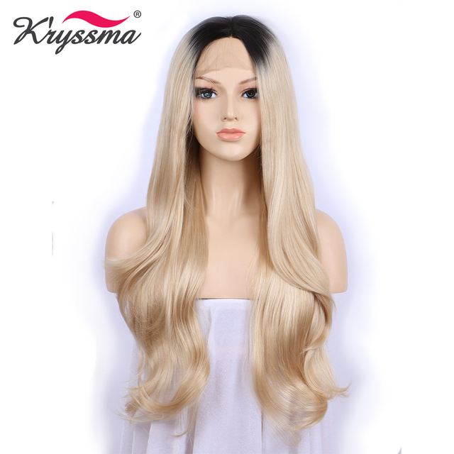 Platinum Blonde Wig Dark Roots Front Lace Synthetic Ombre Wig Two Tones Long  Wavy Wigs for Women 24