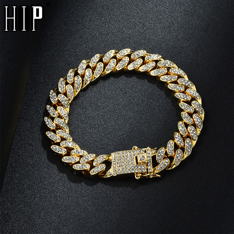 Hip Hop Bling Iced Out Full AAA Crystal Pave Mens Bracelet Gold Silver Color Miami Cuban Link Chain Bracelets for Men JewelryHip Hop Bling Iced Out Full AAA Crystal Pave Mens Bracelet Gold Silver Color Miami Cuban Link Chain Bracelets for Men Jewelry