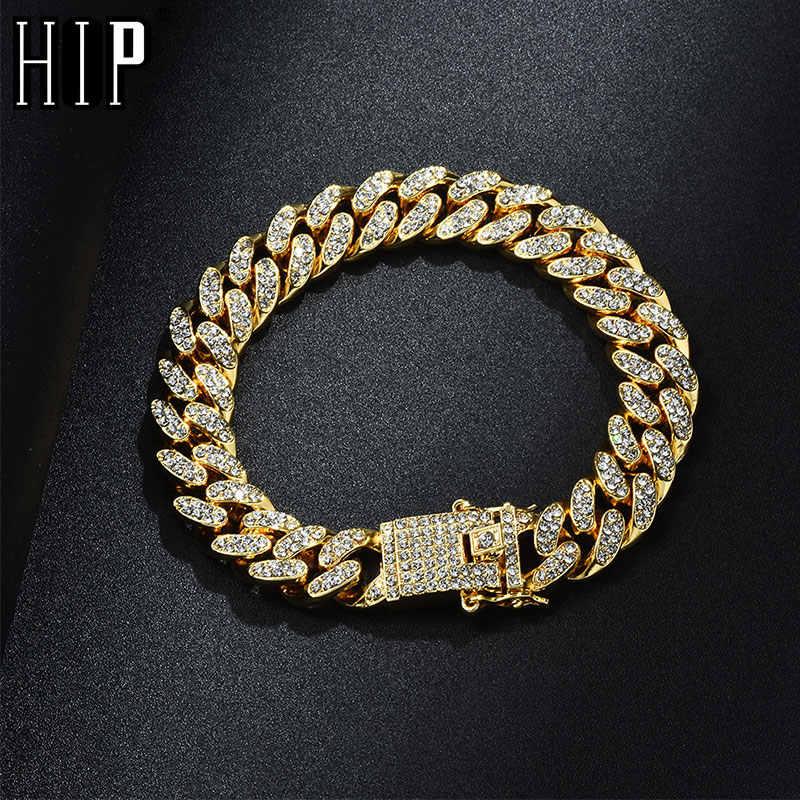 Hip Hop Bling glacé plein cristal Pave hommes Bracelet or argent Miami lien cubain chaîne Bracelet collier pour hommes bijoux