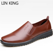 цены LIN KING New Fashion Men Leather Shoes Slip On Lazy Casual Shoes Light Shallow Slip On Men Loafers Moccasins Zapatos De Hombre